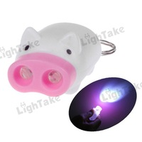 Wholesale Lots 10Pcs Novelty Mini Cute Pig 2 LEDs Flashlight Keychain