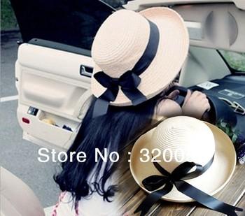 1pcs, 2013 summer Женщины's sun hat, Черный bowknot ribbon edge straw hat, Бежевый ...