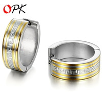 OPK JEWELRY Cool Man Gold Plated Stainless Steel  Hoop Earrings Special Texture  NEW ARRIVAL free shipping 254