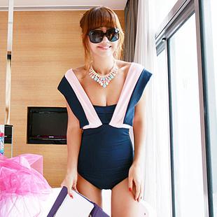 Korean Version Special Design Plus Size Swimwear Navy Blue&Black One Piece Swimsuit Women