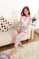 Pink Free Shiping Spring Long Sleeve Cotton Women Cartoon Sleepwear Pajama Homewear Sets Female Lady Pink O-Neck Pajamas 11176