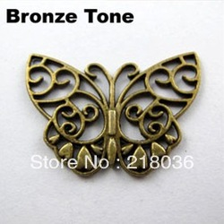 HOT 100Pcs Antiqued Bronze Tone Hollow Butterfly Charm Pendants DIY Metal Jewelry 26.5x38mm A815(China (Mainland))