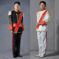 Free shipping Men`s The court serving Royal Prince palace suits/black  white   S M L  ( jacket + pant  )