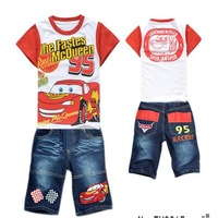 free shipping 2014  13022301 Children's clothing set Short sleeved cotton T - Shirt + Denim Shorts  Car