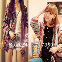 1pc New Arrival Colorful Lady Boho Ethnic Rainbow Weave Stripe Knit V Neck Sweater Cardigan + Free Shipping  650925