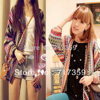 1pc New Arrival Colorful Lady Boho Ethnic Rainbow Weave Stripe Knit V Neck Sweater Cardigan + Free Shipping AY650925