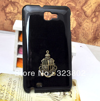 Black Hard Cell Phone Case Cover For GALAXY Note I9220 Glued with Bronze Charm