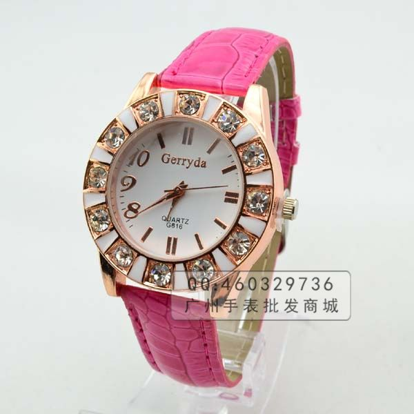 Free shipping 2013 Fashion Women's Crystal Watch,Hot sale student Strap Wrist Watch,HIGH QUALITY(China (Mainland))