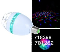 RGB Full Color 3W E27 LED Bulb Crystal Auto Rotating Stage Effect DJ Lamp Light Bulb Stage Lighting Free Shipping