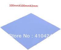 hot sale,5pcs/lot Blue Thermal Pad GPU CPU Heatsink Cooling Conductive Silicone 100mm*100mm*2mm