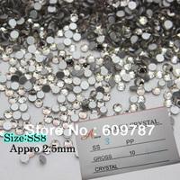 Free Shipping 2.5mm Flatback Crystal Rhinestone Color Crystal Clear 1440PCS Nail art decoration