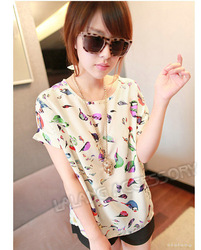 New Design + Wholesale Price 1pcs Colourful Birds Lady's Chiffon Batwing Loose Blouse Casual T-shirt 650948(China (Mainland))