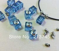 2013  Freeshipping!! Glass Vial Pendants Square shape blue Glass Jewelry vial Pendants Pefume  pendant