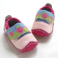 Pink genuine leather quality toddler shoes leather baby shoes 1 - 1