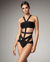 2013 hot sale black straps cross sexy one pieces hallow out swimwear Bandage bikini Free shipping bkn012