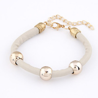 Min Order $10(Mix Items)2013New Fashion European Vintage Chic Metal Gold  Ball Beige Leather Charn Bracelets Wholesale