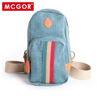 Mcgor 100% cotton canvas small bag male shoulder bag cross-body small bag waist pack chest pack male bags