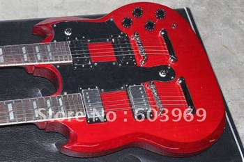 2007 Led Zeppeli Page 1275 Double Neck, Signed Aged , Dark Cherry Guitar Confidential configuration