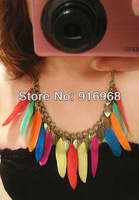 long and short style feather necklace new fashion desgin chokers necklace fashion jewelry free shipping 10pcs/lot