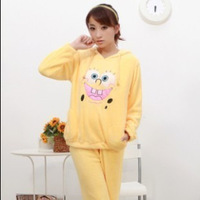 Winter women's coral fleece sleepwear women thickening set winter cartoon Women long-sleeve lounge