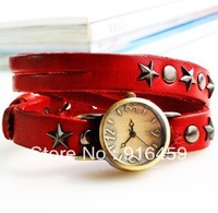 Free shipping  Fashion new style  star rivet quartz  analog bracelet  multicolour  decoration sport hiphop watch