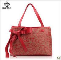2013 new Women's leather hand-painted roses shoulder bag fashion handbag