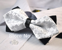 Mens Pre-Tied Adjustable Bow Ties Black With Pink Jacquard Weave Double Sided Diamond Tip Bowties Free Shipping 10 pcs