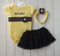 Rompers Baby girl's fashion leopard skull one piece cotton jumpsuit+chiffon skirt+hairbands 3 pc set clothes