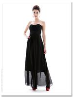 Women's dress elegant waist slim pleated tube top, chiffon long one piece dress A12320