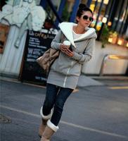 Women's autumn and winter sweatshirt outerwear with a hood wool oblique zipper w10115 Free shipping