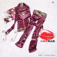 2013 Desinger women's tracksuit Leopard print rc spring and autumn sweatshirt slim gold velvet  sports    Sports Hoodie Suit