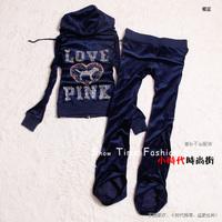 women's tracksuit Fashion autumn velvet   rhinestones slim sports    Sports Hoodie Suit Casual Ladies hoodies sweatshirts set