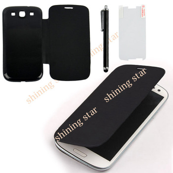 3 In 1 Flip Back Case Cover For SAMSUNG Galaxy S3 III i9300 Clear Protector + Touch Pen Black Free Shipping S10517
