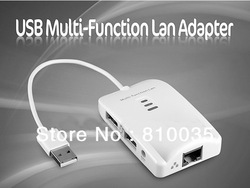 New arrival free shipping 1pcs USB 2.0 Multi-Function Ethernet Lan Adapter + SD / M2 / TF Card Reader + 2-Port USB Hub(China (Mainland))