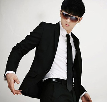 free shipping 3pcs Men'S korea Slim Narrow Neckties special leisure tie black color