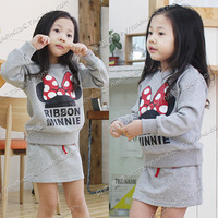 2013 spring cartoon mouse girls clothing baby child long-sleeve sweatshirt short skirt set tz-0237