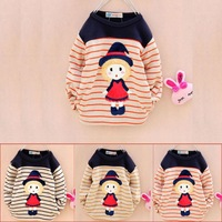 2014 Korean spring Kid Girls baby infant children cartoon long-sleeved t-shirt weaving clothes red yellows blacks striped