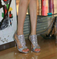 NEW!Bling luxury silver rhinestone open toe women's hight heel sandals elegant banquet queen party shoes