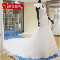 2013 tube top fish tail luxury quality lace wedding dress formal dress rhinestone customize ty88369