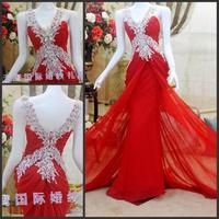 The bride wedding dress formal dress long design formal dress lace SWAROVSKI rhinestone ty99598