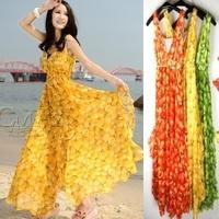 Discount! New Fashion 2013 Summer Women Maxi Dress Floral Printed Beach Dresses Long Green/Yellow/Orange Maxi Dress For Women