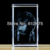 new!wholesale Customized 5*5*8cm birthday gift,Crystal cube with 3D wolf animal figurine home decor,Crystal image paperweight
