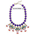 2013 Fashion statement necklace chunky vintage purple crystal flower necklace Lolita designer jewelry statement necklace  N4998