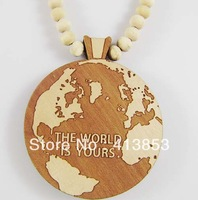 Necklace Hip hop The world is yours GOOD WOOD Hand-drawn Beaded rosary jewelry C0423