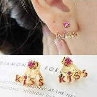 At Least $8 (can mix order) Factory wholesale Price Delicate Kiss Shining Drill Stud Earrings free shipping E002