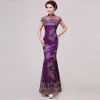 Improved cheongsam purple fish tail lace sexy cheongsam long design bride vintage cheongsam