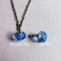 Perfume  pendantnew  Freeshipping!!  polyhedron Circular cutting polyhedron Light purple glass   Vial Pendants Jewelry Pendant