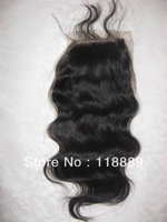 "Brazilian Virgin Hair Top Closure (4""x4"") #1 Body Wave--Brazilian Closure"