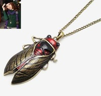 Vintage epoxy finishing cicada necklaces long alloy insect necklaces