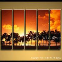 Huge Modern Contemporary Oil Painting Seascape Wall Art Canvas Beach Sunset Palm---mn0